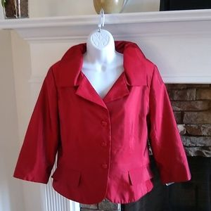 Victor Costa NWT Red Duponi Silk Blazer 14
